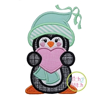 Penguin Holding Heart Girl Applique