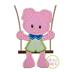 Piggy in the Swing Boy Applique