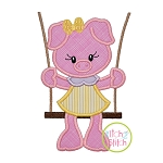 Piggy in the Swing Girl Applique