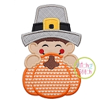 Pilgrim Boy Pumpkin Peeker Applique