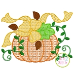 Pumpkin with Bow Motif Embroidery