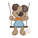 Puppy in the Swing Boy Applique
