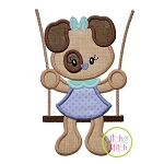 Puppy in the Swing Girl Applique