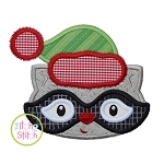 Winter Raccoon Face Boy Applique