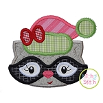Winter Raccoon Face Girl Applique