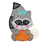 Raccoon with Pumpkin Girl Applique