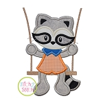 Raccoon in the Swing Boy Applique