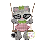 Raccoon in the Swing Girl Applique