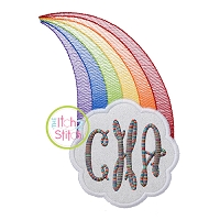 Rainbow Cloud Monogram Applique