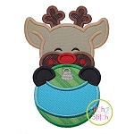 Reindeer Boy Ornament Peeker Applique