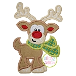 Reindeer with Scarf Boy Applique