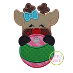 Reindeer Girl Ornament Peeker Applique