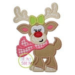 Reindeer with Scarf Girl Applique