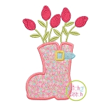 Rosebuds in Boot Applique