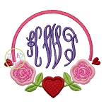 Rose Heart Frame Applique