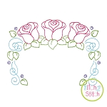 Roses Trio Frame Bean Embroidery