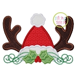 Santa Hat Antler Applique