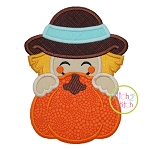 Scarecrow Boy Pumpkin Peeker Applique