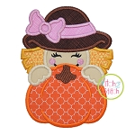 Scarecrow Girl Pumpkin Peeker Applique