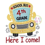 School Bus Grades 4th Applique