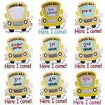 School Bus Grades Applique Set