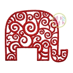 Scroll Elephant Embroidery