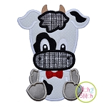 Sitting Cow Boy Applique