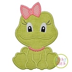 Sitting Frog Girl Applique