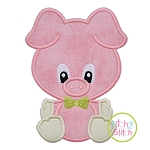 Sitting Pig Boy Applique