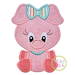 Sitting Pig Girl Applique
