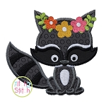 Sitting Raccoon Flowers Applique