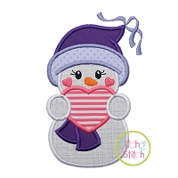 Snowgirl Holding Heart Applique