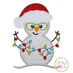 Snowman Glasses Lights Applique