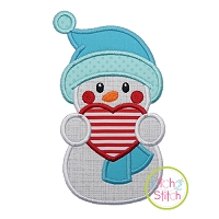 Snowman Holding Heart Applique
