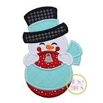 Snowman Ornament Peeker Applique