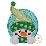 Snowman Oval Applique