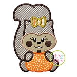 Squirrel with Pumpkin Girl Applique