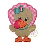 Standing Turkey Girl Applique