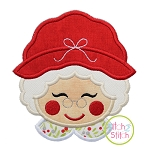 Sweet Mrs Claus Face Applique