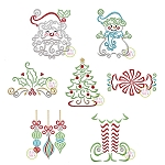 Swirly Christmas Embroidery Design Set