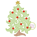 Swirly Christmas Tree Motif Embroidery