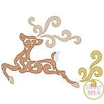 Swirly Deer Motif Embroidery