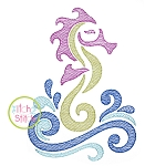 Swirly Seahorse Sketch Embroidery