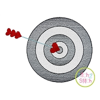 Target with Heart Arrow Sketch Embroidery