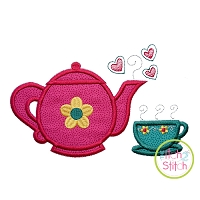 Tea Pot and Cup Applique