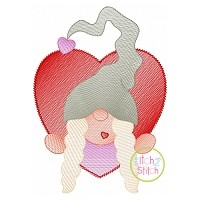 Gnome in Heart Girl Sketch Embroidery Design