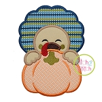 Turkey Boy Pumpkin Peeker Applique