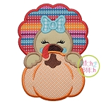 Turkey Girl Pumpkin Peeker Applique