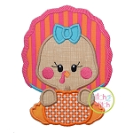 Turkey with Pumpkin Girl Applique