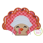 Turkey with Bonnet Girl Applique